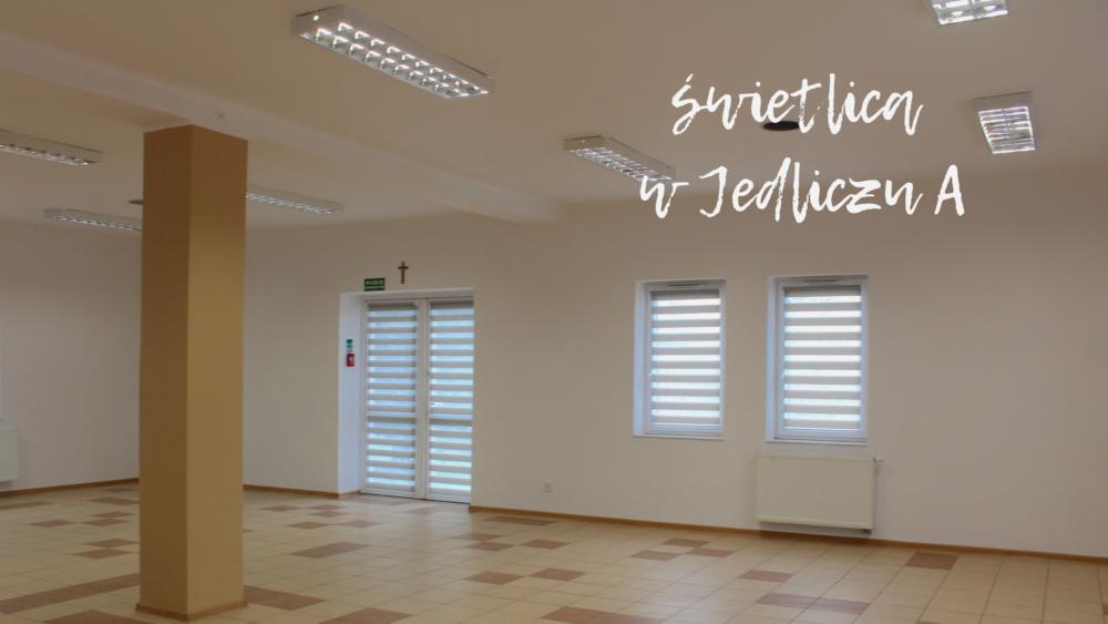 odnowiona sala świetlicy wiejskiej w Jedliczu A