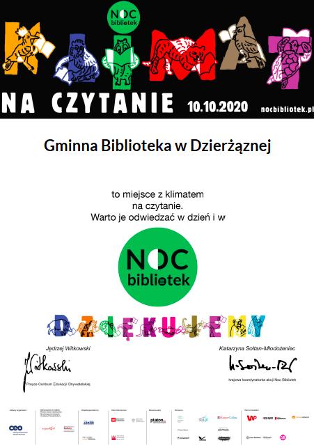 Noc Bibliotek 2020, dyplom, Dzierżązna, gmina Zgierz