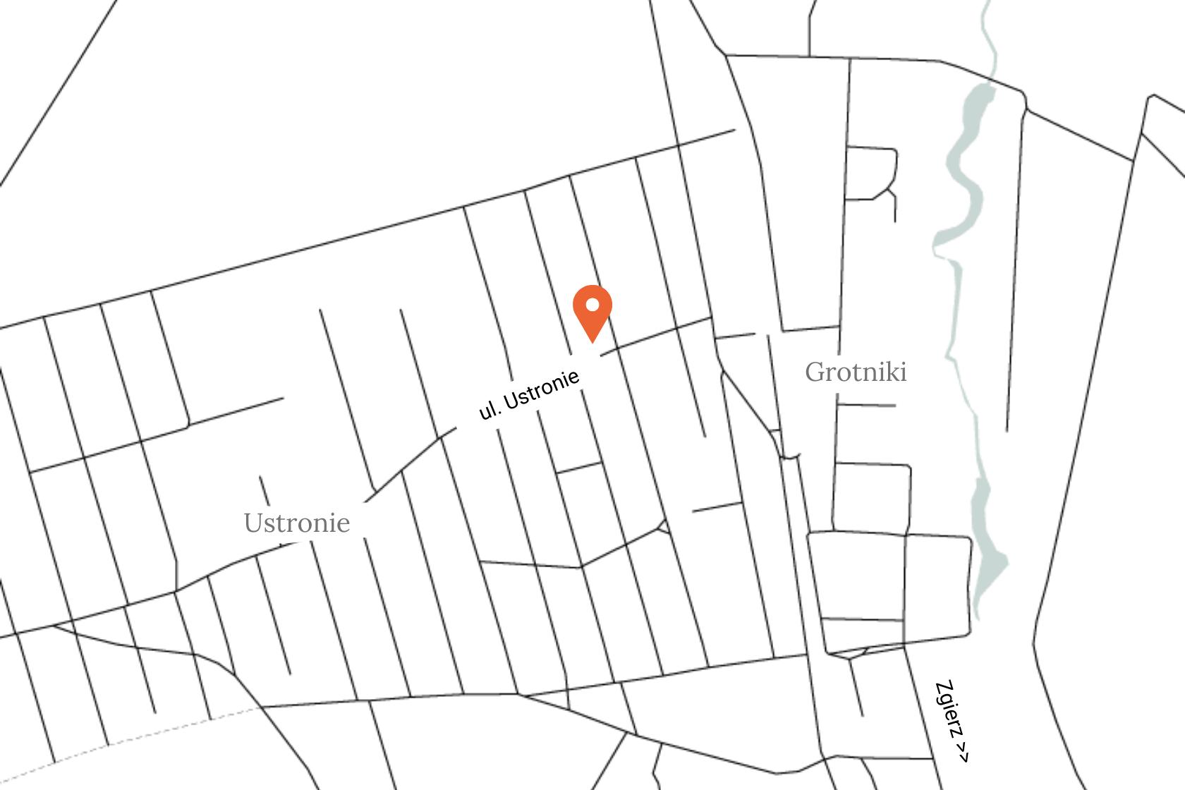 mapka dojazdu do biblioteki w ustroniu, gmina Zgierz