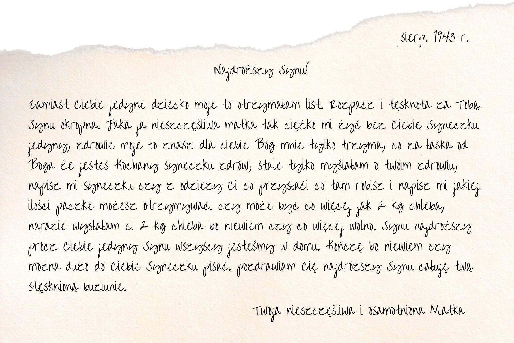 list matki do więzionego syna