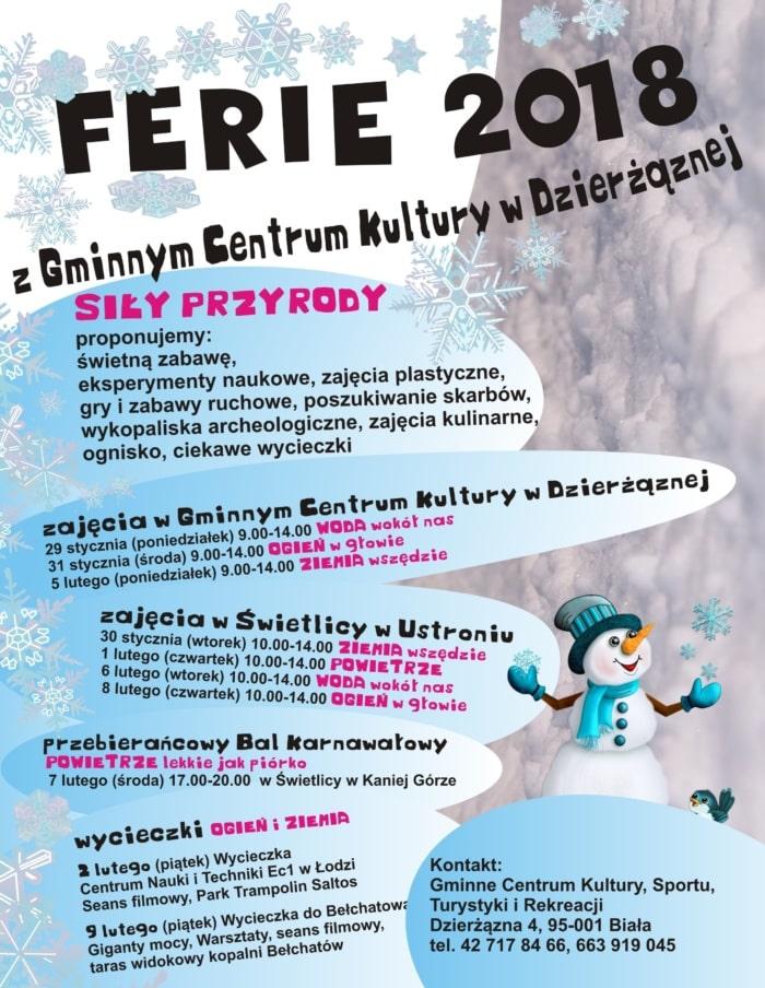 Ferie zimowe 2018 w Dzierżąznej, zaproszenie