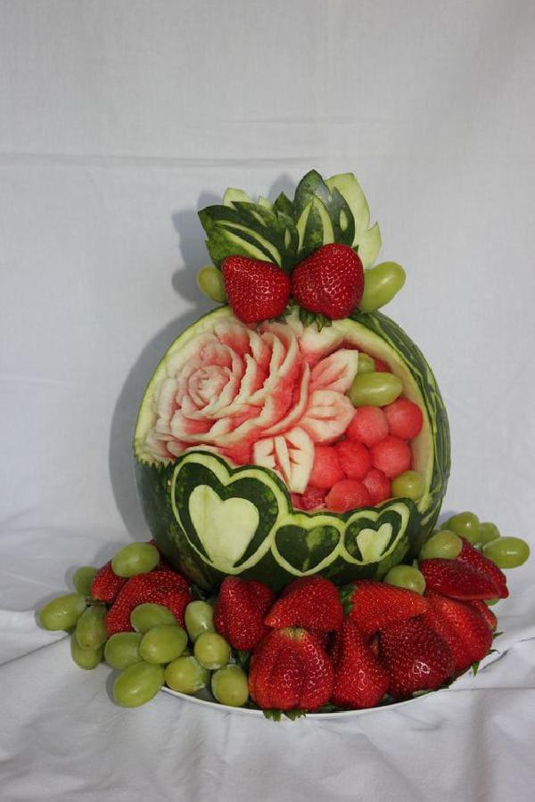 owoce, dekoracja, carving