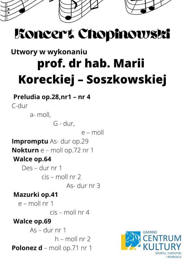 zaproszenie, koncert Chopinowski, repertuar