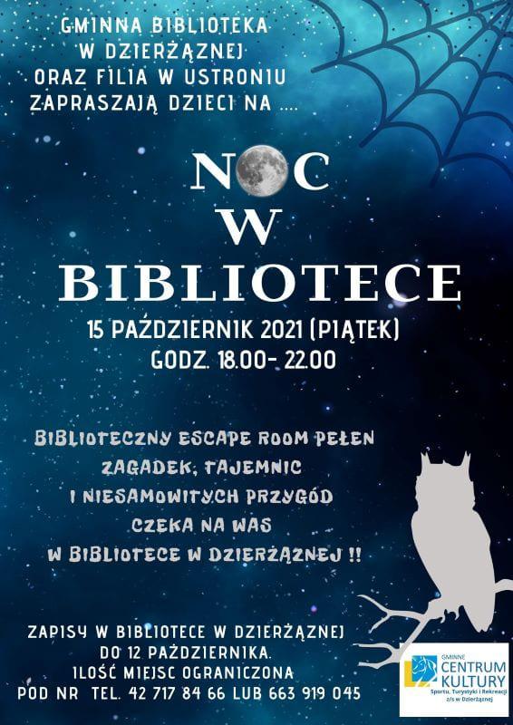 noc bibliotek. biblioteka w Dzierżąznej